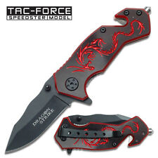 "6"" RED DRAGON TAC FORCE SPRING ASSISTED FOLDING KNIFE Blade pocket open switch"