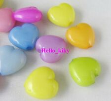 200 pcs Mixed colour Plastic Heart beads 14x14mm M1381