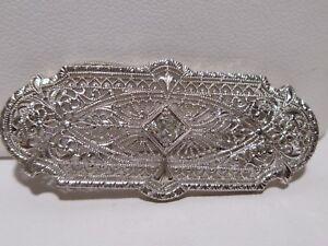 Art Deco Old European Cut Diamond 14k White Gold Filigree Pendant Brooch Vintage