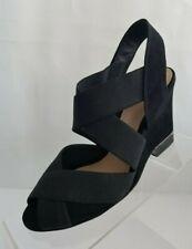 Tory Burch Debbie Logo Crisscross Wedge Sandals Black Suede Slingbacks Size 6.5M