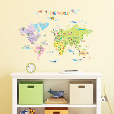 Decowall Colourful World Map Nursery Kids Removable Wall Stickers Decal DW-1203
