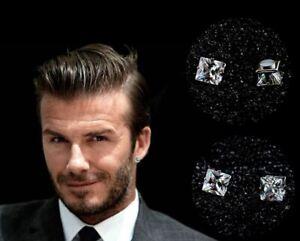 Men's Boys 18K White Gold Plated 'Magnetic' Beckham 10mm Crystal Gem Earrings