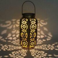 Solar LED Hanging Lantern Hollow Light Outdoor Garden Yard Decor Lamp