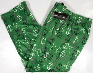WEATHERPROOF Silky Fleece GameDay Football lounge Pants- L- NEW- green pajamas