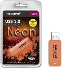 Integral 128GB Neon USB 3.0 Flash Drive in Orange, up to 10X Faster Than USB 2.0
