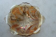 DUGAN Carnival Glass Bowl Butterfly Marigold Tulip Art Antique Two Sides Up RARE