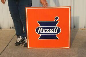 "Rexall Drug Store Pharmacy Soda Fountain Gas Oil 24"" Porcelain Metal Sign"
