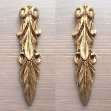 Pair Furniture Decal Corbel Scroll  Decoration Applique Moulding Pediment Gold