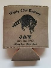 Personalized Engraved Leather Koozie Beverage Holder Raccoon Coon Hunter Gift