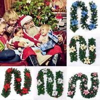 2.7M Christmas Party Garland Decor Pine Xmas Tree Gift Wreath Ornament Fireplace