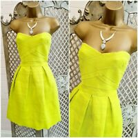 RIVER ISLAND UK 12 BNWT Lime Green Thick Bandage Strapless Fit & Flare Dress