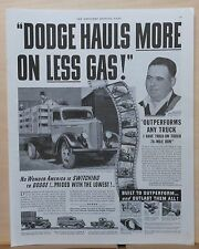 1937 magazine ad for Dodge Trucks - Hauls More on Less Gas, stake truck