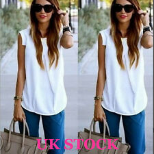 UK Womens Sleeveless Vest Ladies Summer Loose Chiffon White Tops Blouse T Shirt