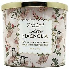 Scentsational Natural Soy Blend 26oz Cotton 3 Wick Candle Jar - White Magnolia
