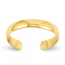 14k Solid Yellow Gold 3mm Toe Ring Plain Adjustable Band  0.54 grams