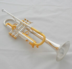 Professional new Bb Trumpet Silver Gold Plated Horn 3 Monel Valves With Case