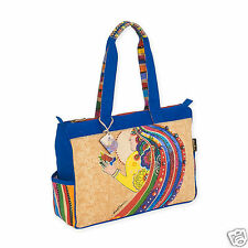 Laurel Burch Womans Spirit Rose With Bird Medium Gold Beige Tote Bag New