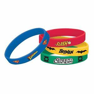 Justice League Rubber Bracelets Party Favour Batman Flash Green Lantern Superman