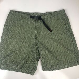 Gramicci Mens G Shorts Green White Gingham Flat Front Pockets Buckle Cotton XL