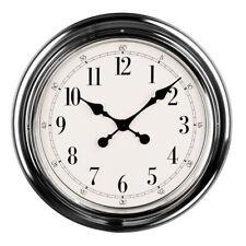 Premier Housewares Modern Wall Clock, Chrome Finish, Large Numbers