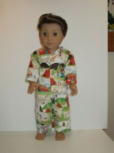 """Tents & Animals/Last One Pajamas 18"""" Doll Clothes American Girl"""