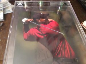 beckett tiger woods autograph early auto photo