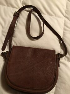 Women's DULUTH TRADING COMPANY Brown Leather Crossbody Purse Bag
