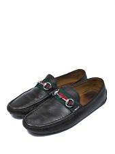 GUCCI men's brown leather web signature moccasins   Size 6.5 / US 8 (10,4 in)