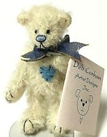 "Deb Canham Limited Edition SNOWFLAKE 3.5"" Miniature White Mohair Teddy Bear"