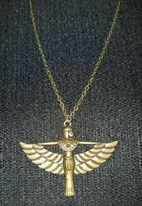Egyptian Goddess Isis Aset Pendant Necklace, Antique Bronze Goldtone, Magical!