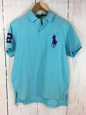 Polo Ralph Lauren Big Pony Polo Rugby Shirt Purple Blue Men's Size Large