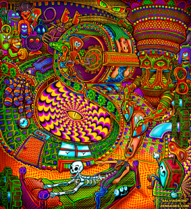 Psychedelic UV Blacklight Tapestry Salvia Droid Wall Hanging Spiritual Painting