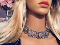 Vintage Large Blue Aurora Borealis Rhinestone Necklace Choker