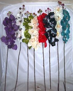 Artificial Orchid stems 8 cols & FREE extra bunch grass home conservatory gift