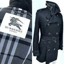 RARE— BURBERRY MENS GREY CHECK LINED BLACK TRENCH COAT Size 46