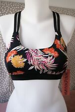 NEW MinkPink Move Womens Black Floral Racer Back Sports Bra Athletic Crop Top M