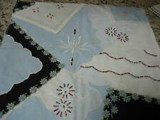 HAND CRAFTED MULTIPLE HANKIE QUILT SQUARE-FROM VINTAGE HANKIES-#1-P3