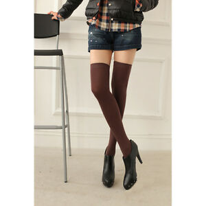 Women Plain Over Knee Solid Color Office Stockings Lady Thigh High Long Socks