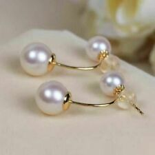 charming 7-11mm round south sea white  pearl earring 14k