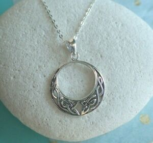 Sterling Silver Celtic Knotwork Crescent Moon UK Seller