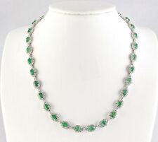 28.20 Carat Natural Emerald 14K White Gold Diamond Necklace