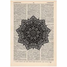 Fancy Star Mandala Dictionary Print OOAK, Alternative Art,Unique, Gift,