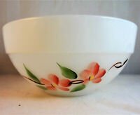 Fire-King Peach Blossom Small Mixing Bowl Anchor Hocking Pink Flowers Milk Glass