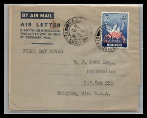 GP GOLDPATH: ST LUCIA COVER 1951 AIR MAIL FIRST DAY COVER _CV699_P17