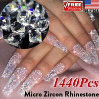 1440Pcs Crystal Rhinestone 3D Glitter Jewelry Glass Diamond Gems Nail Art Tips