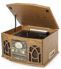 iTek 5-in-1 Classic Music System, Record Player/CD/Tape Deck/Radio/USB Port