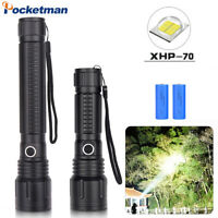 90000LM XHP50 XHP70 LED Flashlight Zoomable 5 Modes Torch Light 18650 or 26650