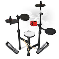 More details for foldable electric drum kit set 5-piece digital pads jazz style with drumsticks