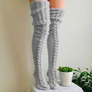 Women Ladies Thigh High Socks Warm Over Knee Socks Girls Knitted Long stockings
