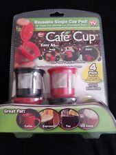 Set of 4 Cafe Cup Reusable Single Cup Pods + Bonus Scoop - New